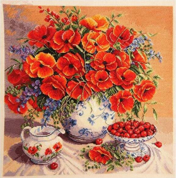 Kézimunka, DIY DMC keresztöltés, szett hímzőkészletekhez, mák és cseresznye virágok teaport minták Cross-Stitch készletek