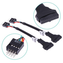 1PC USB 3.0 20-Pin Motherboard Header Female to USB 2.0 9-Pin Male Adapter Cable