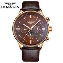 Часы Мужчин Роскошный Лучший Бренд GUANQIN Новый мужская Мода Большой Циферблат Дизайнер Кварцевые Часы Мужские Наручные Часы relogio masculino relojes