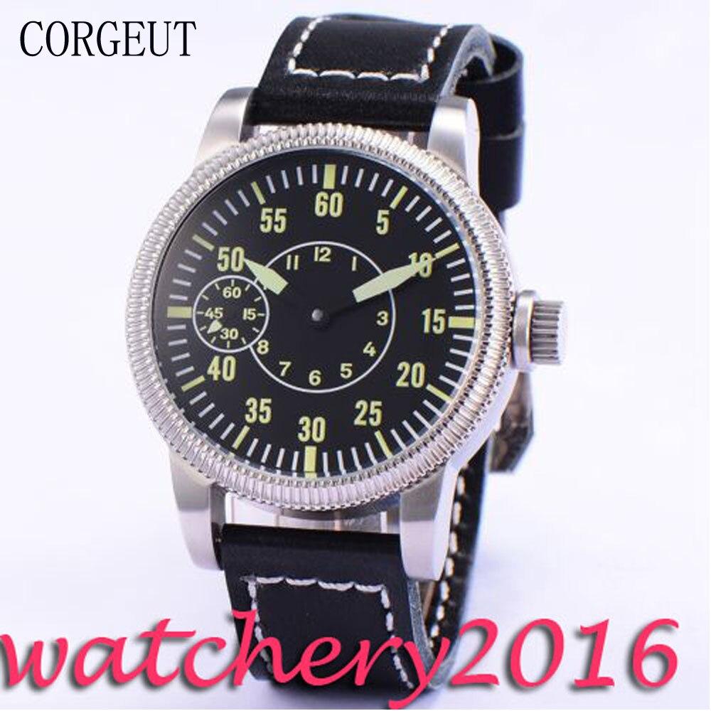 цена на Luxury 45mm Corgeut Black Sterile Dial Green Marks 6497 Hand Winding movement men's Watch