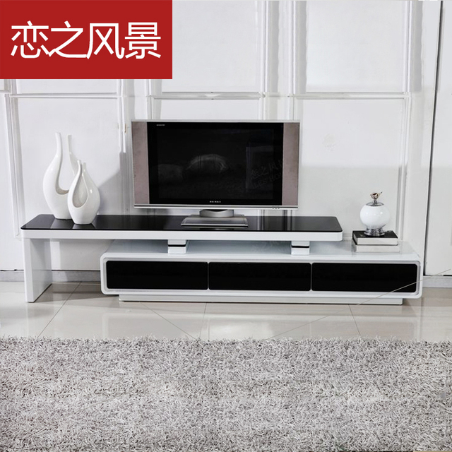 TV cabinet modern minimalist small apartment living room paint glass