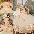 Novo do laço do Vintage vestido de Champagne Spaghetti macio tule vestidos menina para casamentos festa