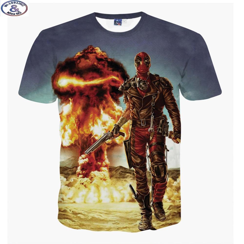 Mr 1991 new fashion America Cartoon Anime Bad guys Deadpool 3D printed hip hop t shirt