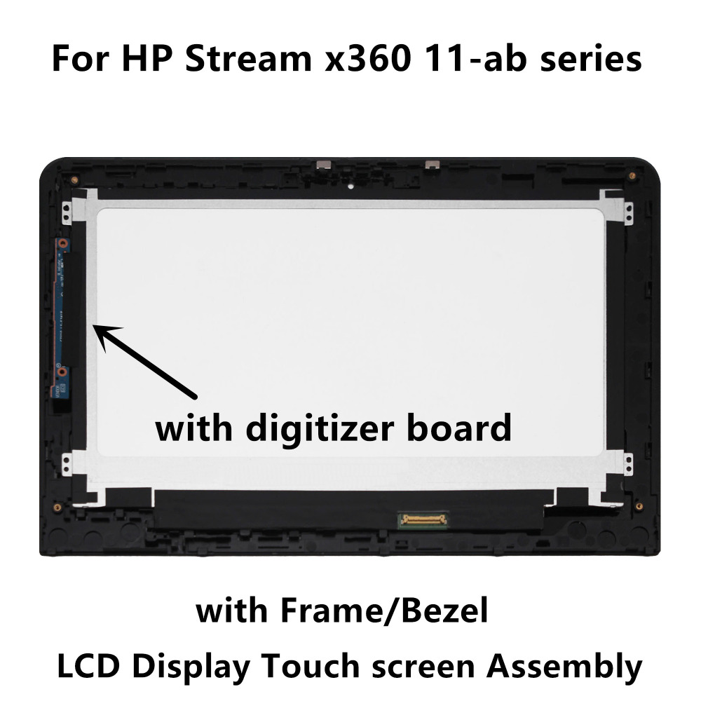 LCD Display Touch Screen Glass Assembly+Frame+Digitizer Board For HP Stream x360 11-ab series 11-ab009tu 11-ab014tu 1-ab002tu 2pcs for motorola moto x 1 x2 xt1092 xt1095 xt1096 xt1097 2nd lcd display with touch screen digitizer assembly