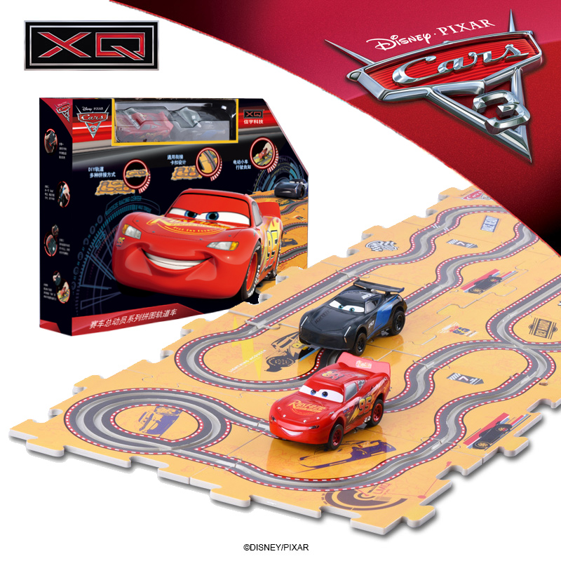 Disney Pixar Cars 3 Children Xmas Gifts Macqueen Storm Jackson 2pcs Electric Slot Car Toys With 10pcs Diy Tracks For Kids Boys