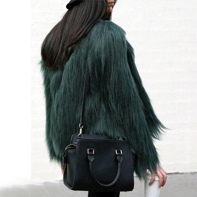Hot Winter Women Coat High-grade Elegant Women Shaggy Coat Long Sleeve Fluffy Faux Fur Fourrure Female Plus Size Outerwear W0