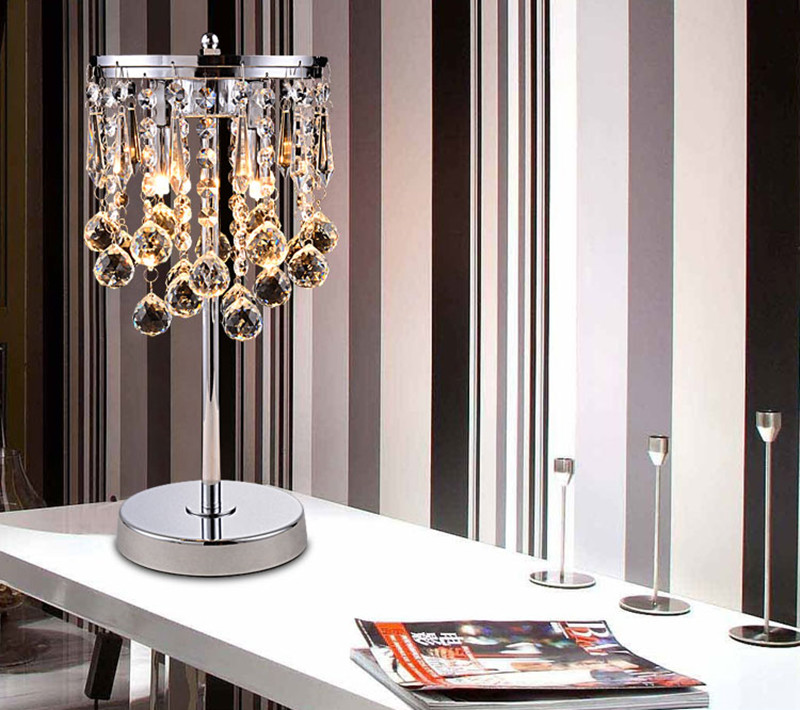 Led Lamps Cheap Sale New K9 Crystal Table Lamps For Bedroom Bedside Light Luxury Table Lamps Living Room Abajur Modern Chrome Table Light