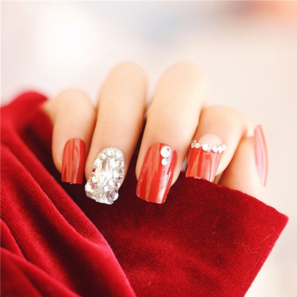 24pcs/Set Full Diamond Bride Nail Art Tips Full Cover Pretty Red ...