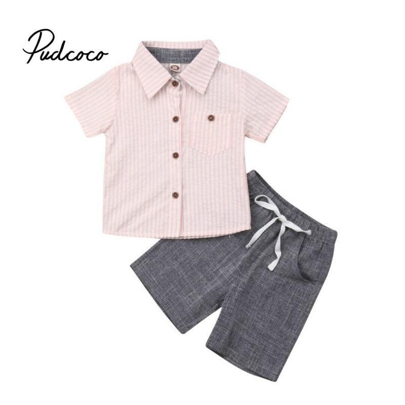 2PCS Kids Baby Boy Long Sleeve Formal School Shirt Tops+Pants Set Clothes Outfit