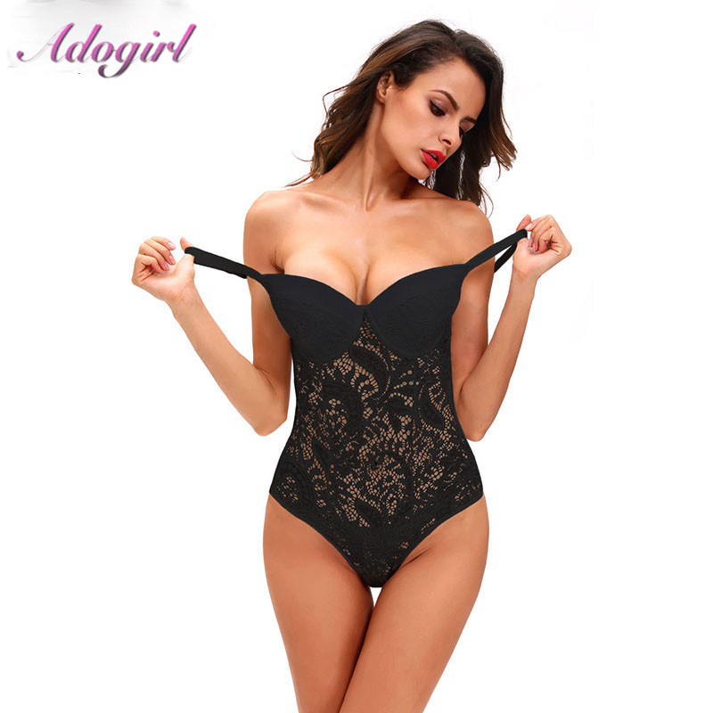 Adogirl Sexy Spaghetti Straps Sheer Lace Bodysuit With Cups Women Backless Sleeveless Jumpsuit Female Outfit Ropmers Lady Tops