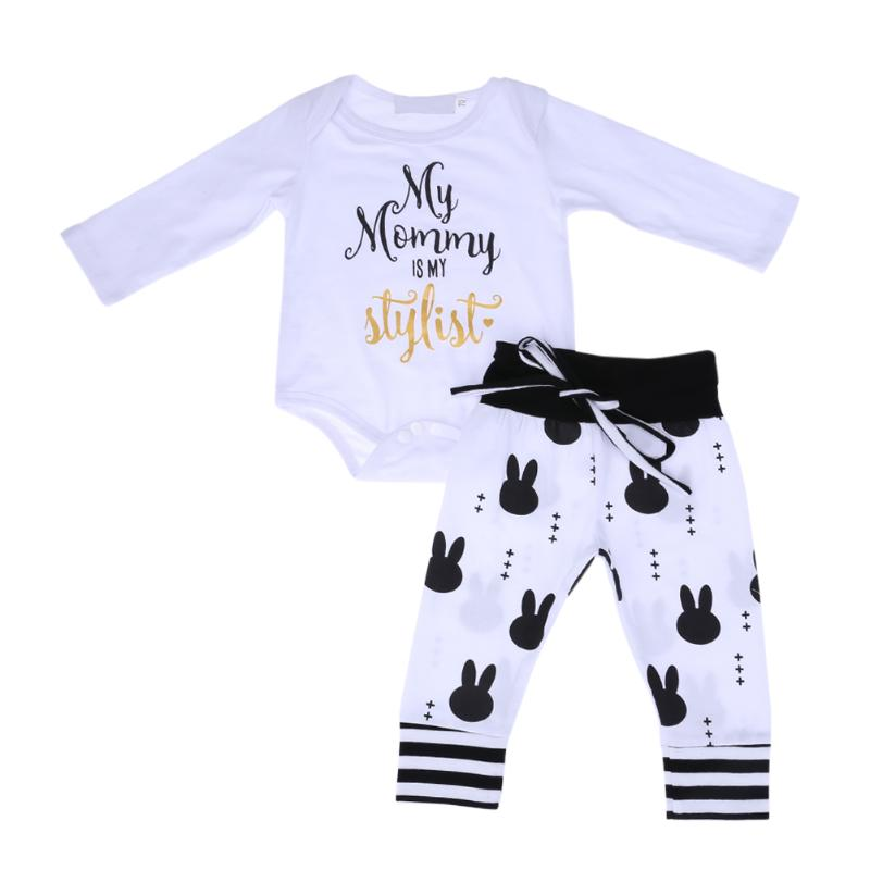 2pcs/Set Baby Clothing Set 2017 Autumn Infant Boys Girls Long Sleeve Romper+Rabbit Printed Pants Cute Newborn Leisure Outfit Set