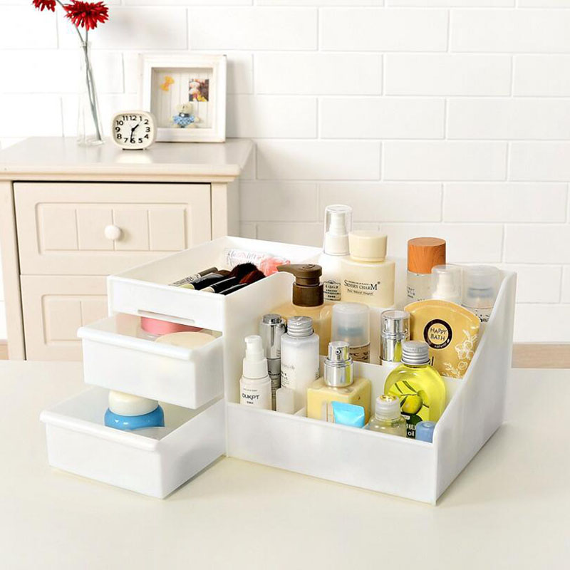 2019 New Plastic Makeup Organizer Make Up Brush Storage Box with Drawer Cotton Swabs Stick Maker Storage Case Hot Sale-in Makeup Organizers from Home & Garden