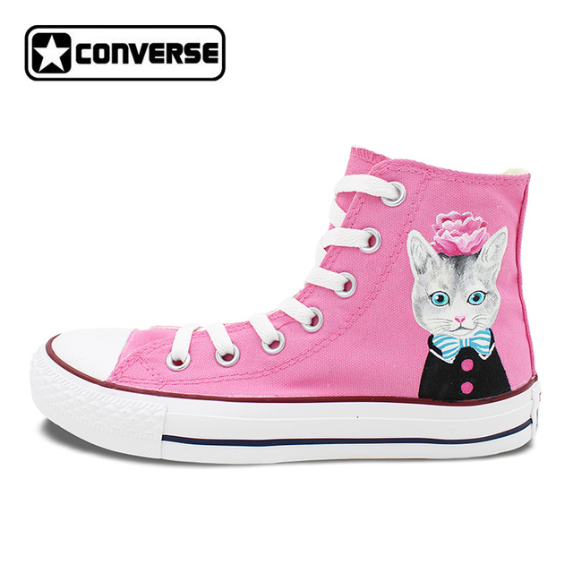 Pink Wanita Pria Sepatu Converse Chuck Taylor Pink Roses Cat Desain Asli  Tangan Dicat Tinggi Sepatu e8d909e8d1