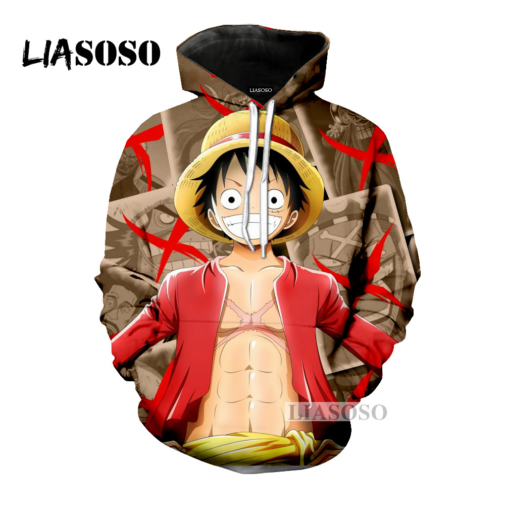 Romantic Liasoso 2018 Casual 3d Print Anime One Piece Monkey D Luffy Women Men Hooded Hoodies Sweatshirts Pullover Harajuku Hip Hop X0156 Men's Clothing