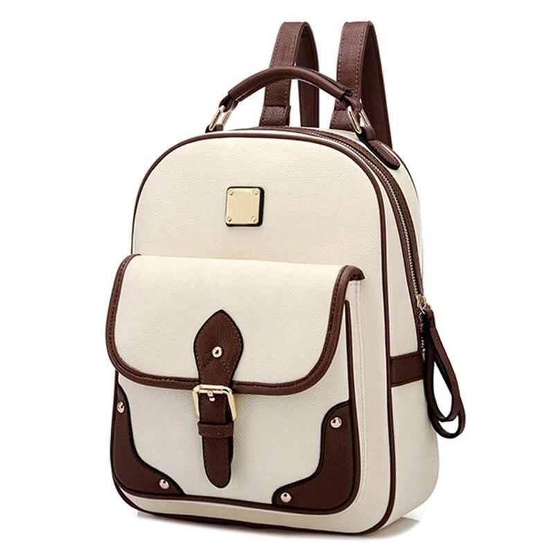 Backpack Girls Bucket-Bag Patchwork Designer High-Quality Fashion Women PU