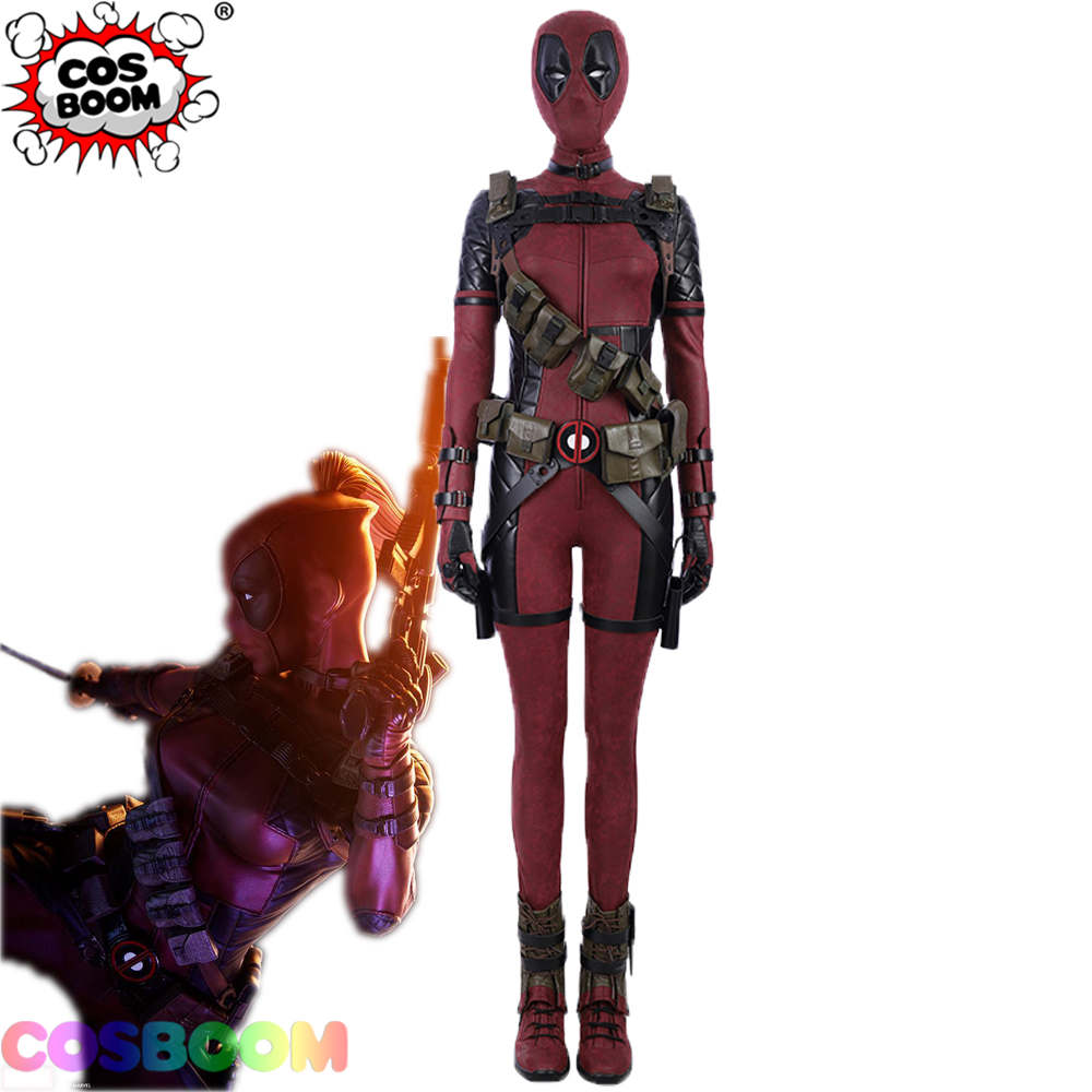 COSBOOM Lady Deadpool Cosplay Costume Adult Women's Halloween Superhero Deadpool Female Red Jumpsuit Costume Custom Made