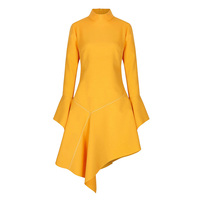 Women Asymmetric Dress Solid Yellow Flare Long Sleeve Stand Collar Dress Fall Spring Lady Elegant Fashion Irregular Plain Dress