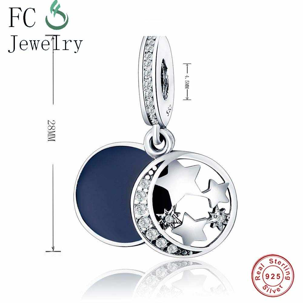 fb83db34a ... Real 925 Sterling Silver MOON STAR Dazzling Wishes Dangle Blue Mixed  Stones Fit Original Pandora Charms ...