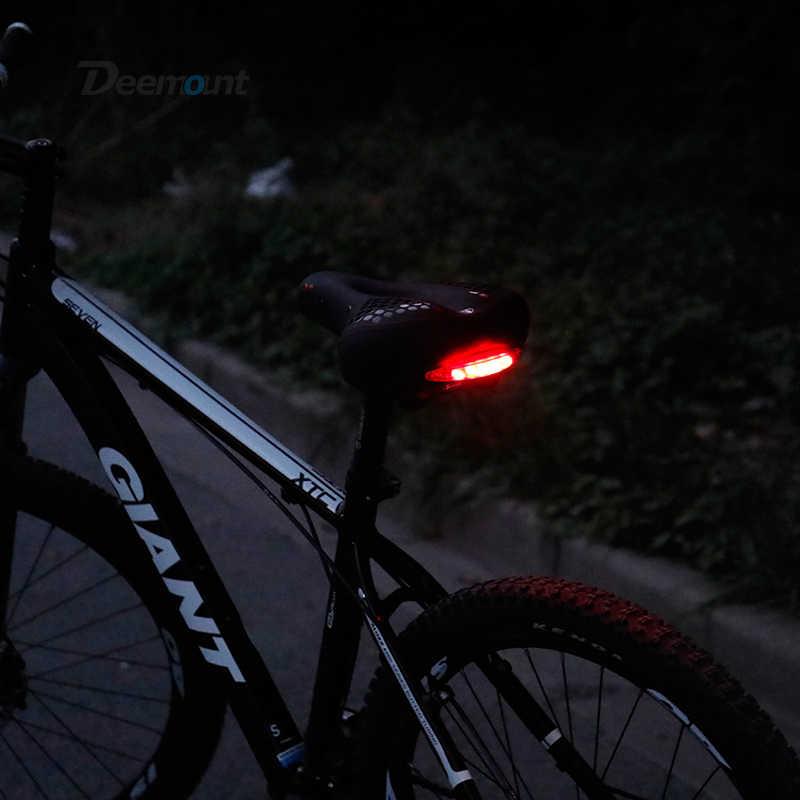 سرج دراجة Deemount مع الضوء الخلفي وجهاز تخفيض الصدمات الخاصة مبسط مقعد وسادة من اسفنج الفوم دورة فانوس الجذع
