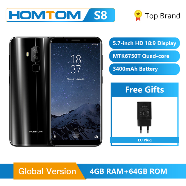 "HOMTOM S8 Smartphone 4G 5.7"" HD Screen 18:9 Ratio MTK6750T Octa Core 4GB 64GB 16.0MP"
