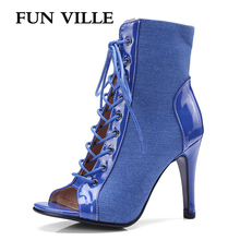 цена FUN VILLE Summer women ankle boots Fashion Women shoes Sexy Women heels Party shoes ladies open toe high heels shoes big size онлайн в 2017 году