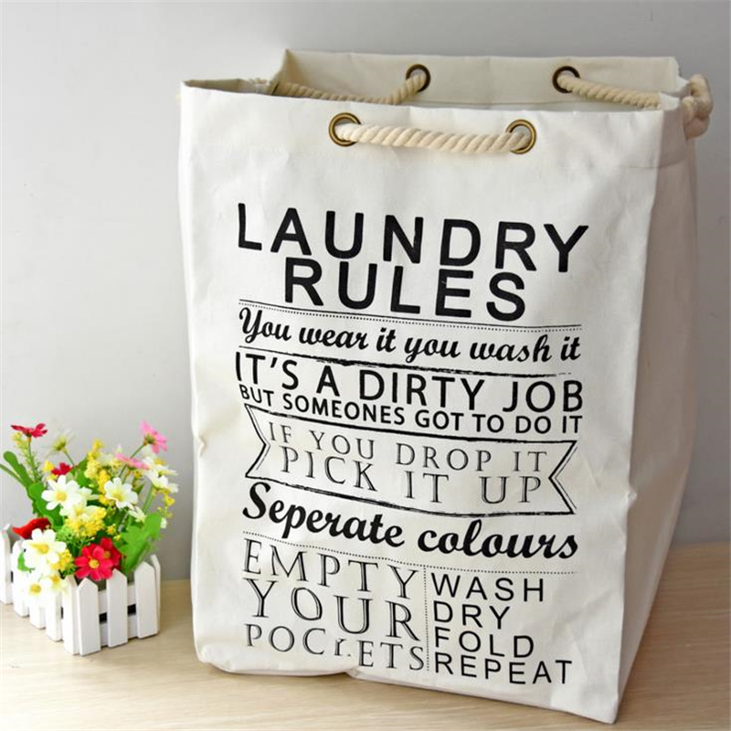 Doreen Box 49X36.5X34cm High Capacity Linen Storage Bag Dirty Clothes Neatening Laundry Bag With Coarse Cotton Rope Necessity