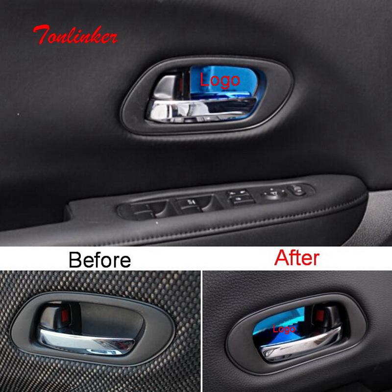 Tonlinker Interior <font><b>Door</b></font> <font><b>Handle</b></font> Bowls Cover Stickers for <font><b>HONDA</b></font> VEZEL <font><b>HRV</b></font> 2014-19 Car Styling 4 PCS Stainless Steel Cover sticker image