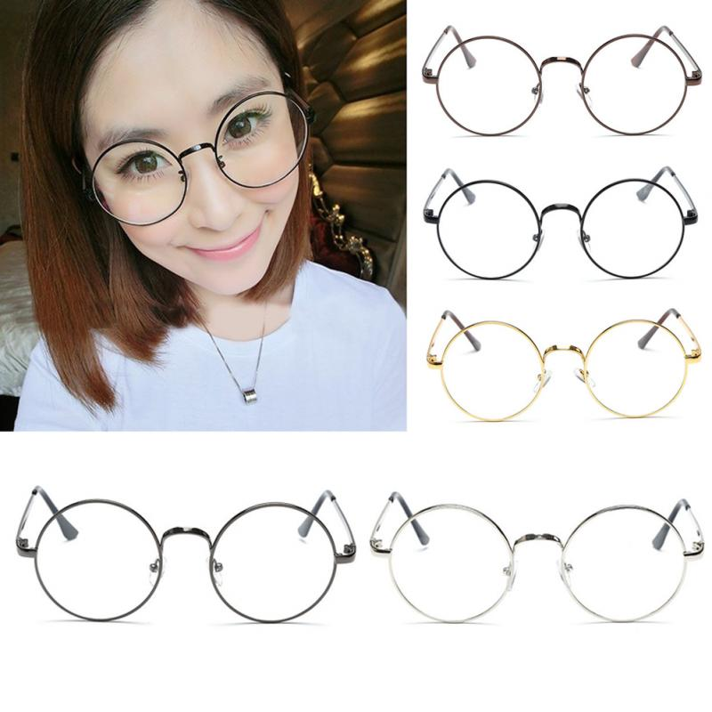 Vintage Women Men Retro Round Metal Frame Clear Lens Glasses Nerd Spectacles Eyeglass