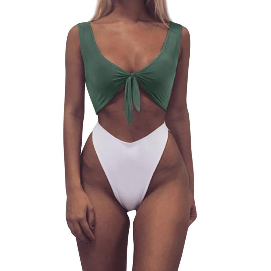 Women Knotted Padded Thong Bikini Mid Waisted Scoop Swimsuit Beach Swimwear bandage bikini set sexy bikini set brazilian swimsui