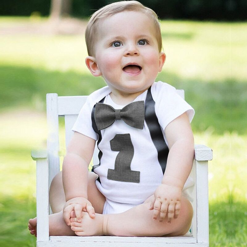 Newborn Toddler Kids Infant Baby Boys Short Sleeves First Birthday Gentleman Romper With Bow 12 Months Kid Baby Clothings Black