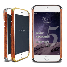 Hot Sale Golden Sliver BlackUpper and lower metal+Wood Mobile Phone Cover Bag Shell Case for iPhone 5 5s Dirt/shock proof