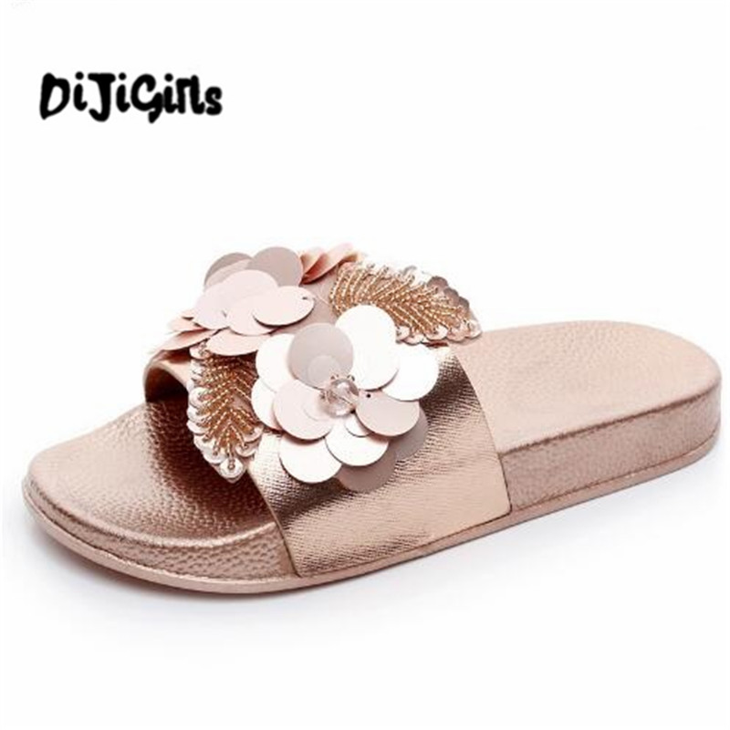 Gold Sliver Flats Slides Bling Summer Beach Slippers Platform Casual Shoes Woman Slip On Creepers 3 Colors phyanic 2017 gladiator sandals gold silver shoes woman summer platform wedges glitters creepers casual women shoes phy3323