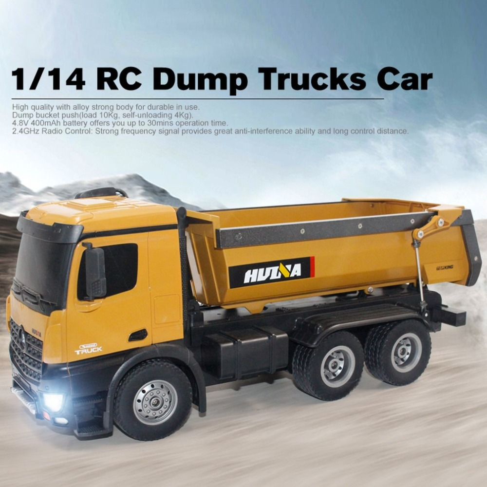 HUI NA jouets 573 grand tombereau RTR 2.4 GHz 10 canaux 1:14 métal HUINA 573 RC tambour camion 1:14 10CH 1573 métal gros camions RC