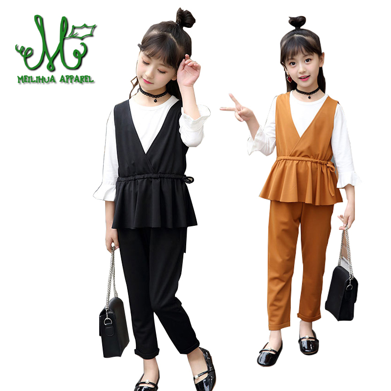 Teenage Girls Clothes Set Girls Clothing Set Spring Autumn Kids Suits 100% Cotton Big Kids Outfits for 4 6 8 10 12 14 Years fashion kids overalls jeans for girls 4 6 8 10 12 years kids blue cartoon cat denim cotton pants girls rompers for autumn 5m14