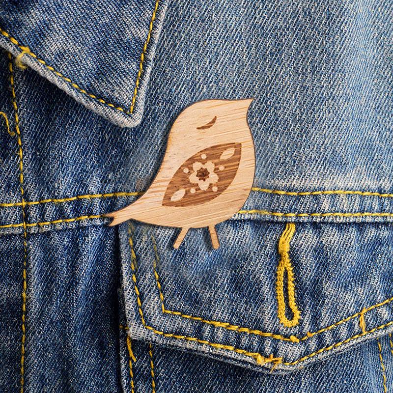 Yiustar Felice Dolce Mini Cherry-uccelli Risvolto Spille Spilla Di Legno Spille Squisito Sveglio Elegante di Fascino Spille per Le Donne Ragazze I Regali di famiglia