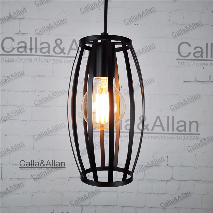 black iron cage Vintage light fixture Loft Pendant Lamp Retro Hanging Lamp For Restaurant /Bar/Coffee Shop Home G80 edison 40W 32cm vintage iron pendant light metal edison 3 light lighting fixture droplight cafe bar coffee shop hall store club
