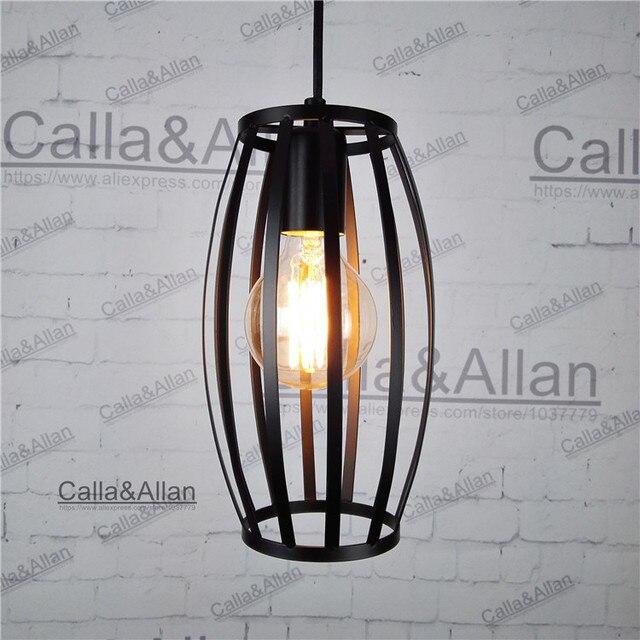 black iron cage Vintage light fixture Loft Pendant Lamp Retro ...