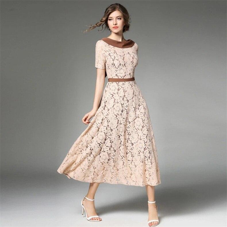 Farha&Janny Vintage Women lace Spring summer Casual Dress
