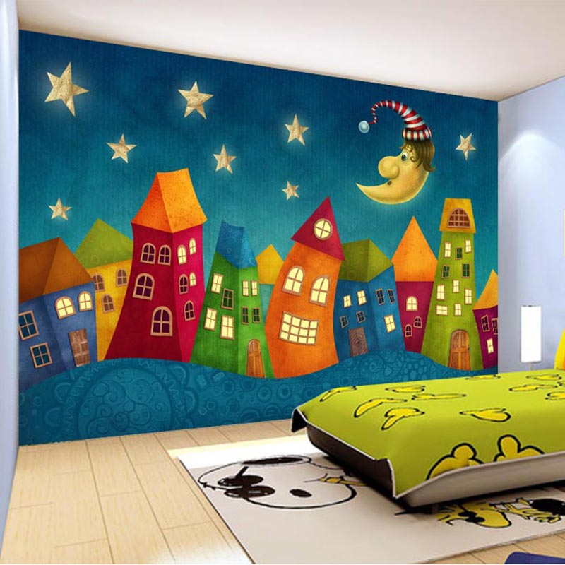 Custom wall paper cartoon children castle 3d wall murals for Murales para pared