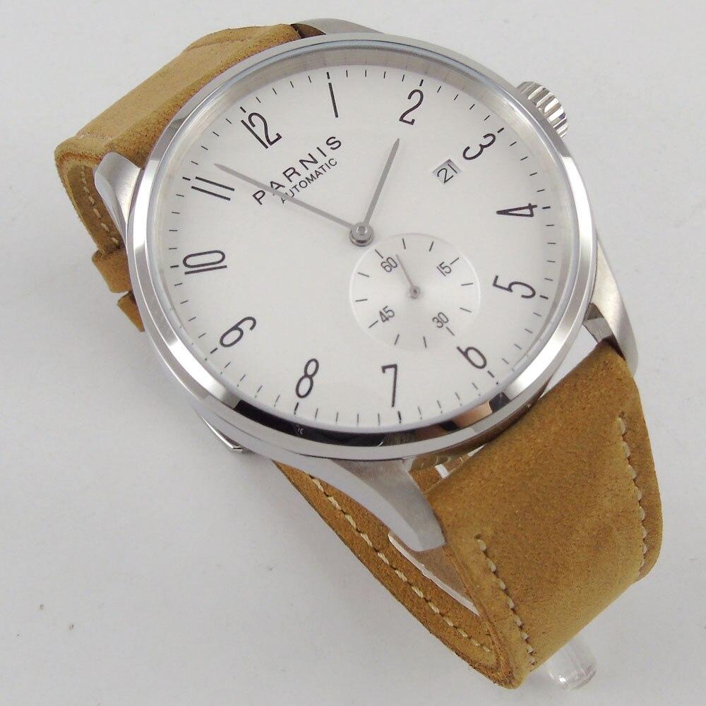 купить 42mm Parnis White dial Camel Leather Strap Complete Calendar top brand Luxury Crystal SS Case Automatic movement Men's Watch по цене 6541.36 рублей