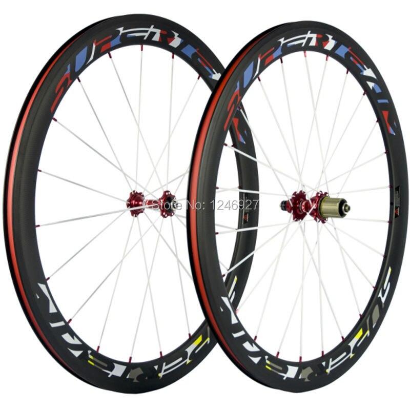 Superteam 50mm Clincher Carbon Bicycle Wheels Red Novatec 271 Hub White Spokes Carbon Road Bike Wheels Full Carbon