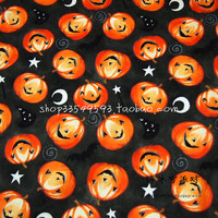 140X100cm Pumpkin Faces White Stars Moons Black Bats Black Cotton Fabric for Halloween Decoration Patchwork DIY-AFCK729