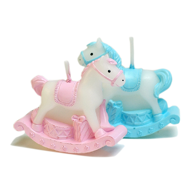 Christmas Horse Cartoon.Aliexpress Com Buy Birthday Decoration Candle Pink Blue Rocking Horse Cartoon Animal Home Decoration Christmas Wedding Paraffin Wax Candle From