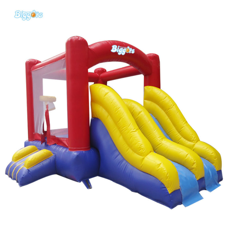 Inflatable Biggors Inflatable Jumping Trampoline With Double Slide For Sale free shipping by sea double lane commercial inflatable water slide inflatable jumping slide with pool