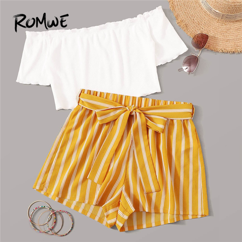 ROMWE Off Shoulder Crop Top And Self Belted Shorts 2 Piece Set Women Boho Summer Short Sleeve Tshirt Wide Leg Shorts Two Piece