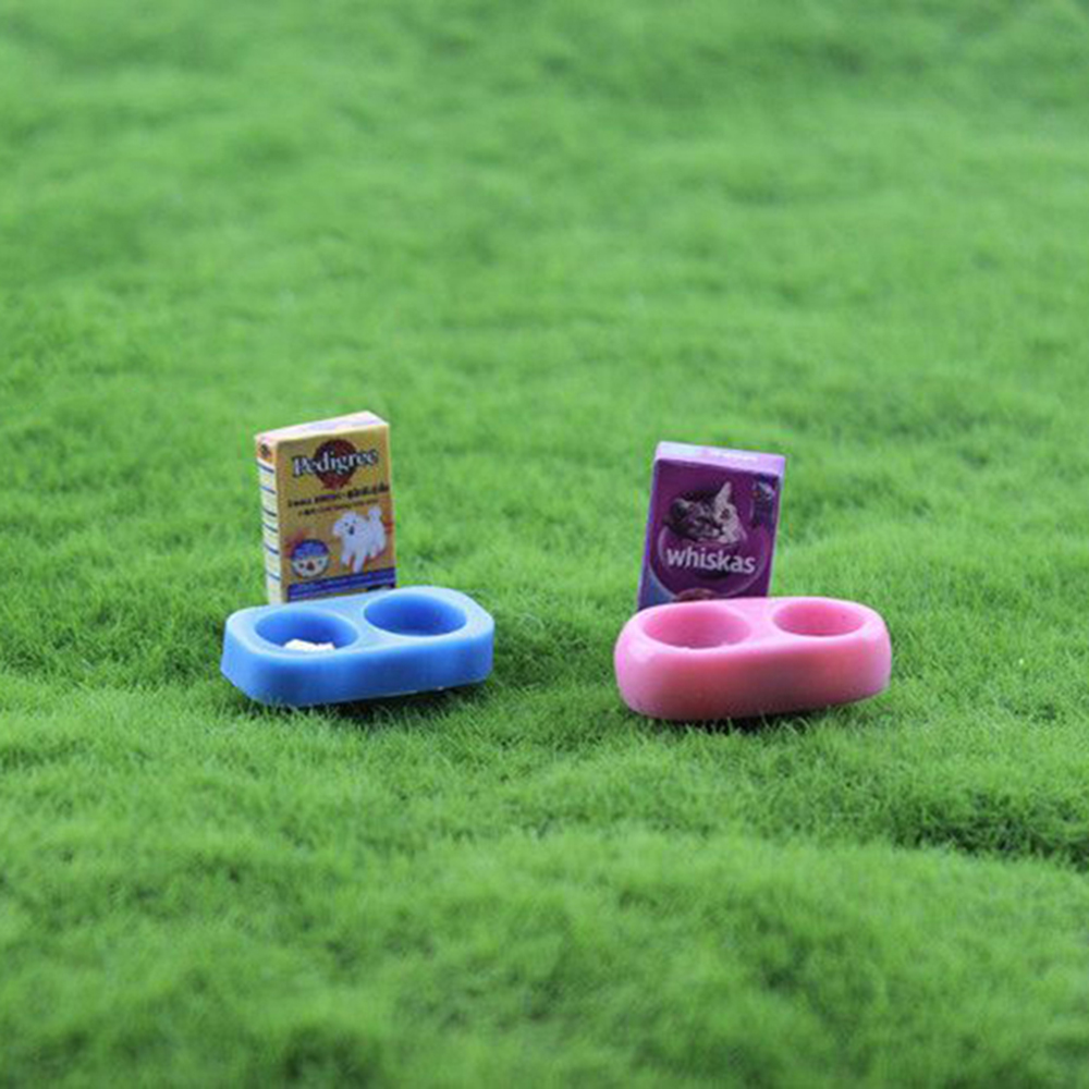 Dollhouse Miniature Home Dog Cat Pet Water /& Food 2 Bowls 1:12