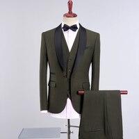 3pc Army Green Suit Men Autumn Winter Slim Fit Wedding Suits For Men Multi Color One Button Business Formal Wear Dress Suits Men