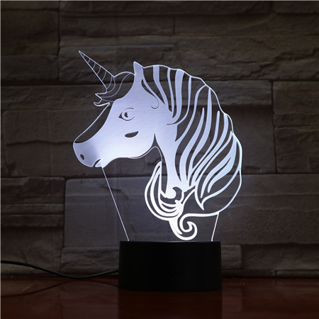 7 COLORS 3D LED UNICORN