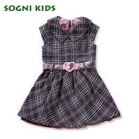SOGNI KIDS Girls Dresses Turn Down Collar Pink Plaid Kids Dresses For Girls Clothes Love Decoration