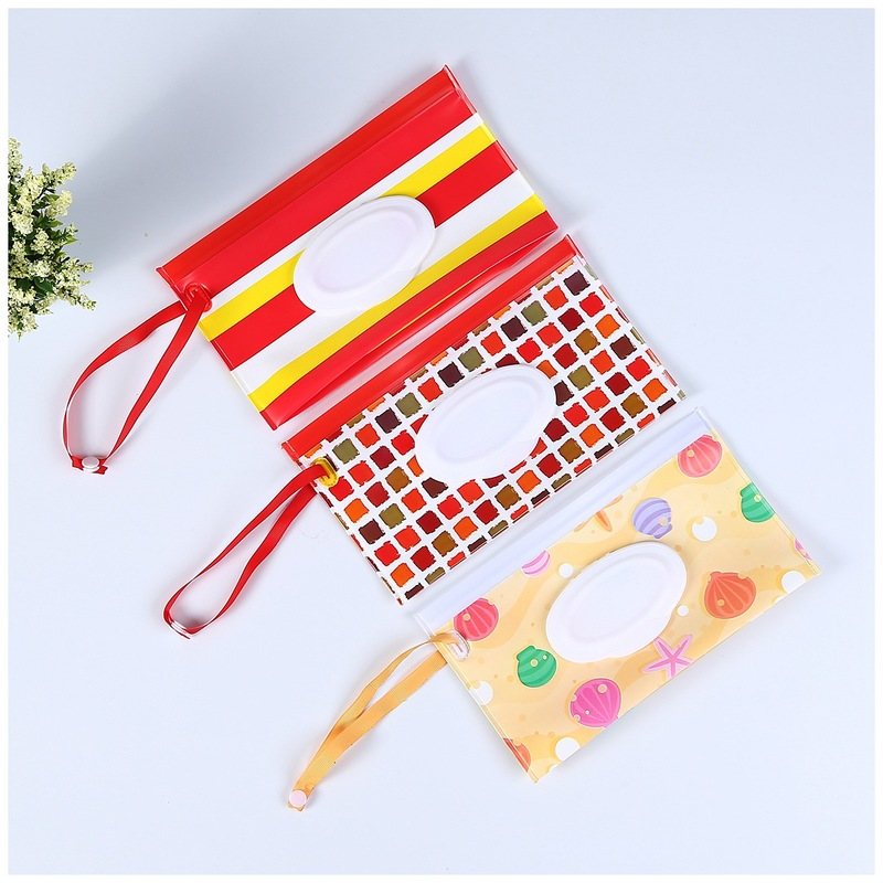 Clutch And Clean Wipes Carrying Case Eco-friendly Wet Wipes Bag Clamshell Cosmetic Pouch Easy Carry Snap Strap Wipes Container